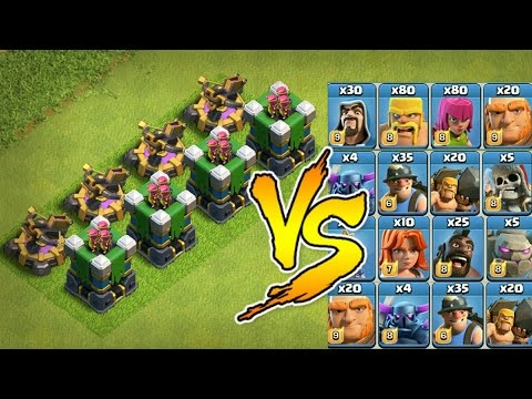 🔥4x MAX |  🔥X-Bow And Archer Tower VS All Troops - COC🔥