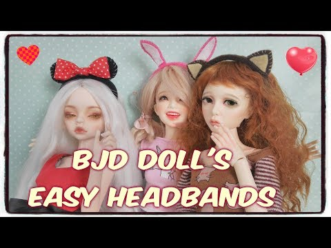 How to make cute headbands for BJD doll: cat mouse or bunny ears.