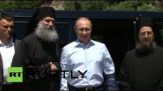 Greece: Putin arrives by boat to Mount Athos for monastery visit