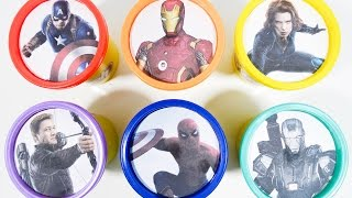marvel captain america civil war play doh cans dippin dots toy surprises learn colors rainbow basic