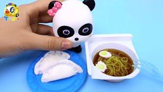 ラーメンとギョウザを作ったよ☆ごっこ遊び❤トイバス(ToyBus) キッズ おもちゃアニメ