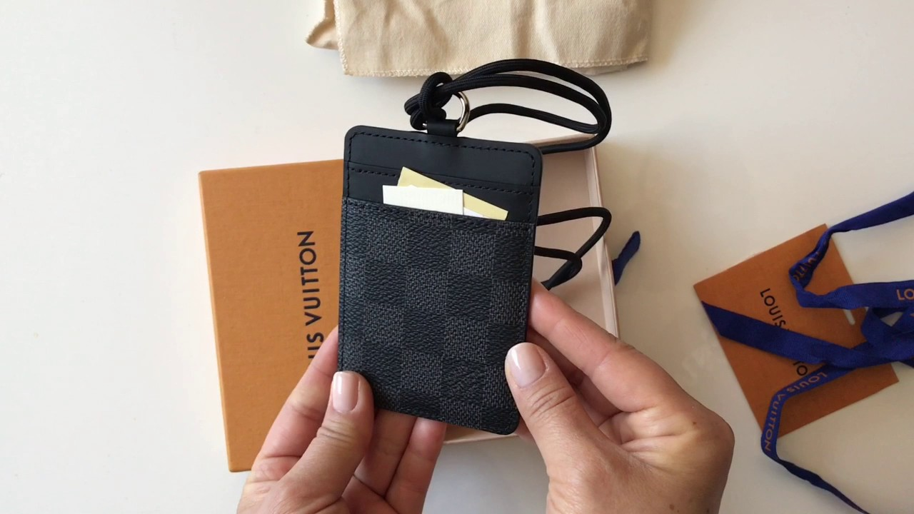 2fe364cf2b2b Unboxing and Review Of New Louis Vuitton ID Card Holder Black Damier ...