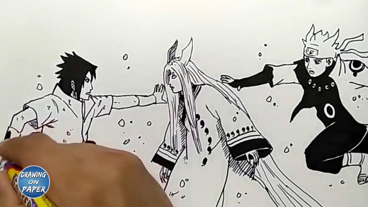 How to draw naruto and sasuke seal kaguya ōtsutsuki drawing doodle art for kids