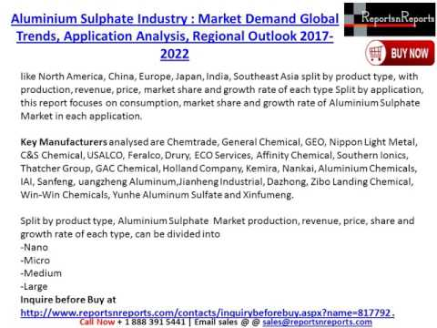 Aluminium Sulphate Industry: Global Market Size, Growth, Trends and 2022 Forecast Report