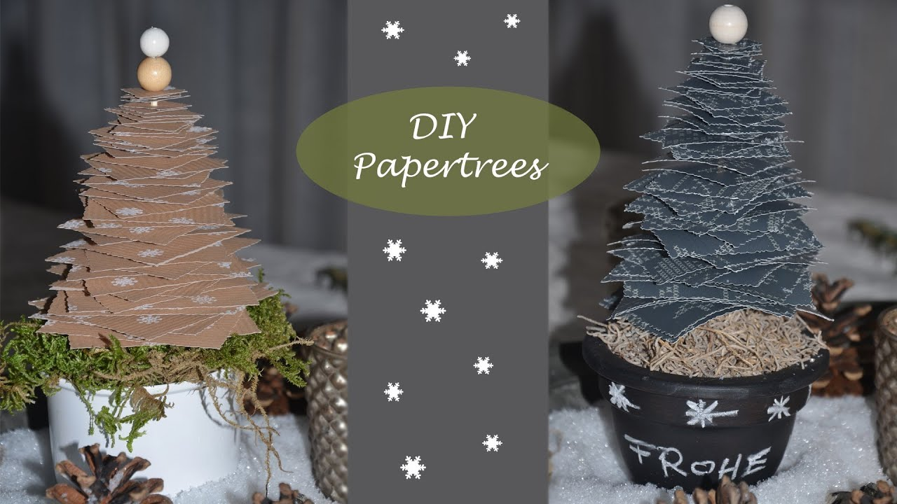 diy weihnachtsdeko selber machen papertrees i tannenb ume aus geschenkpapier i tischdeko. Black Bedroom Furniture Sets. Home Design Ideas