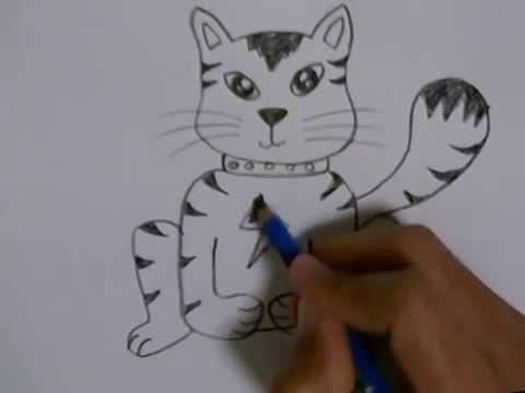 สอนวาดรูปการ์ตูนน่ารักๆ แมวเหมียวจอมซน  How To Draw A Naughty Cat Cartoon