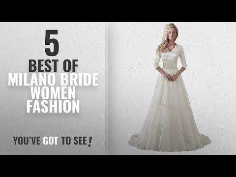 35f754f30b Milano Bride Women Fashion [2018 Best Sellers]: MILANO BRIDE Modest Wedding  Dress For Bride V-Neck - YouTube