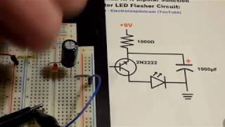 Single 2N2222 NPN Bipolar Junction Transistor BJT LED flasher circuit step by step build