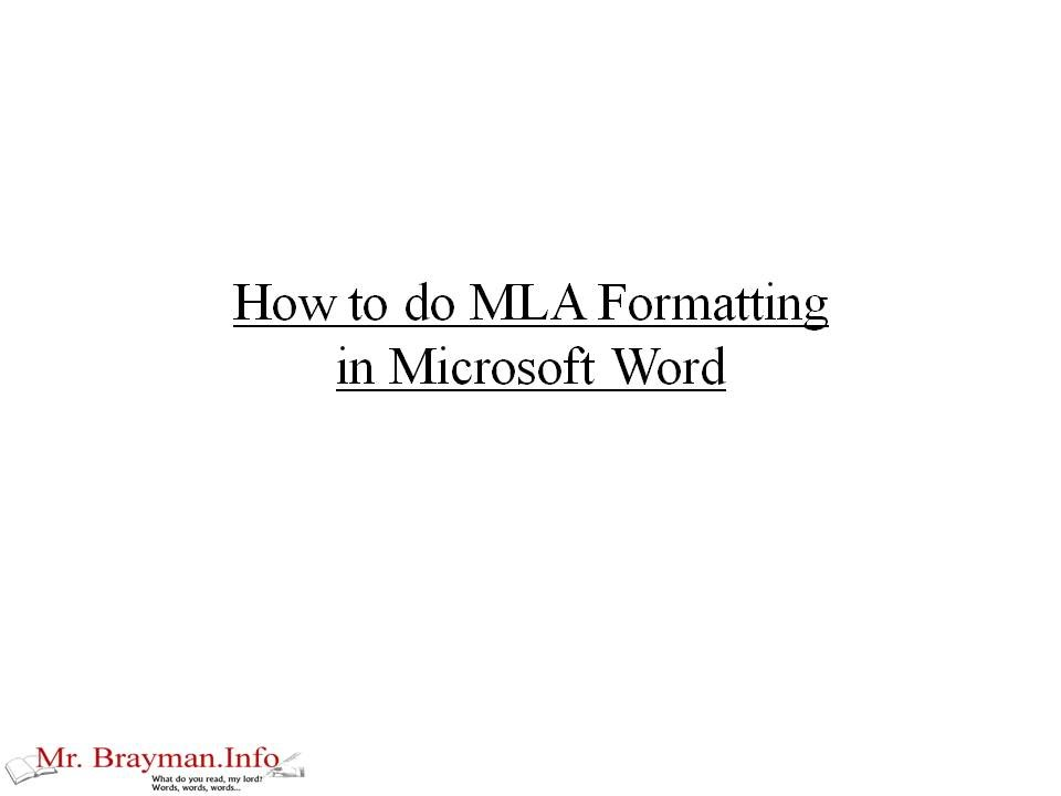 How to do MLA Formatting in Microsoft Word - YouTube