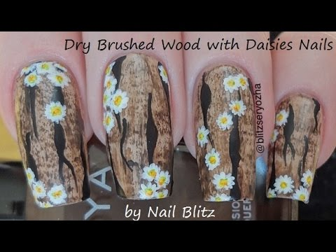 Easy Dry Brushed Wood with Daisies DIY Nail Art Tutorial