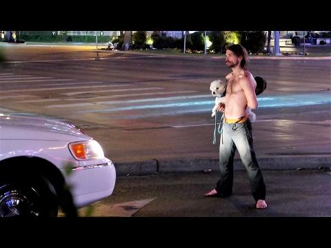 Crazy Guy Blocking Traffic in Las Vegas