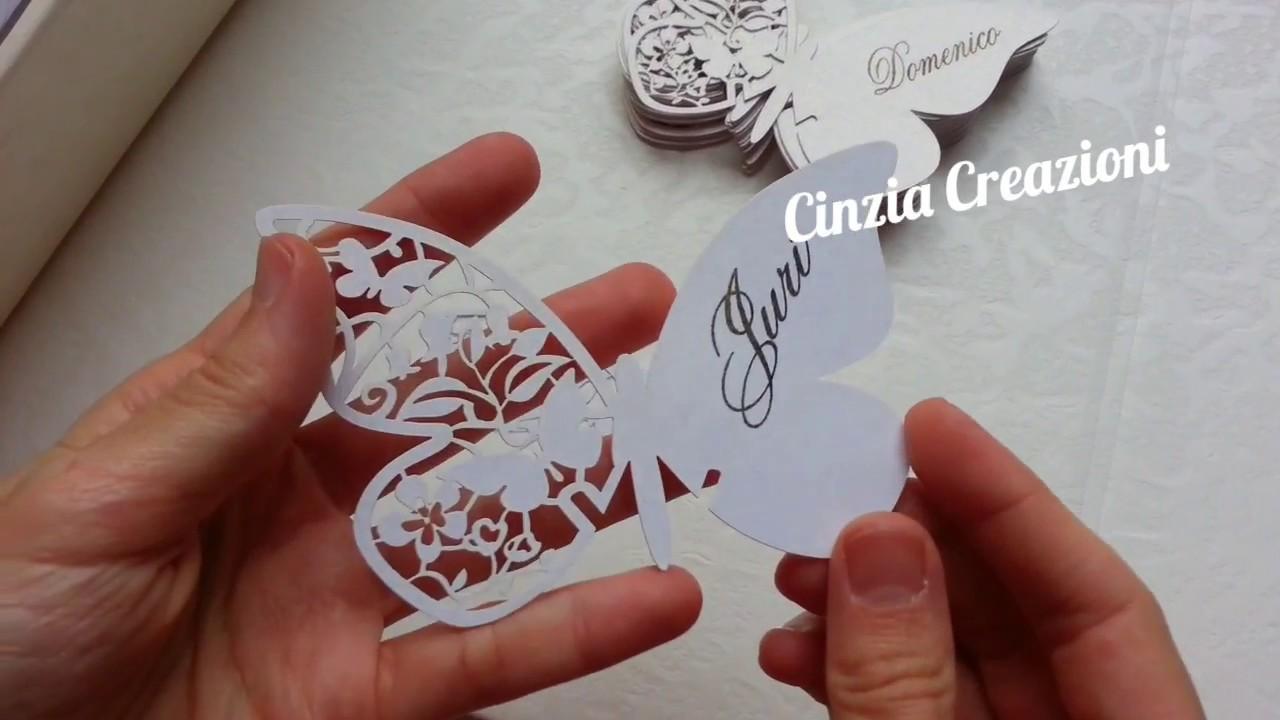 Cartoncini Segnaposto Matrimonio Da Stampare.Farfalle Segnaposto Stampate Personalizzabili Perlate Per