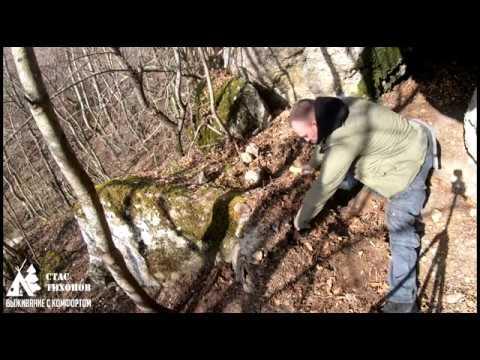 Как переночевать зимой в лесу \ Тёплая лежанка Зимой за 10 минут