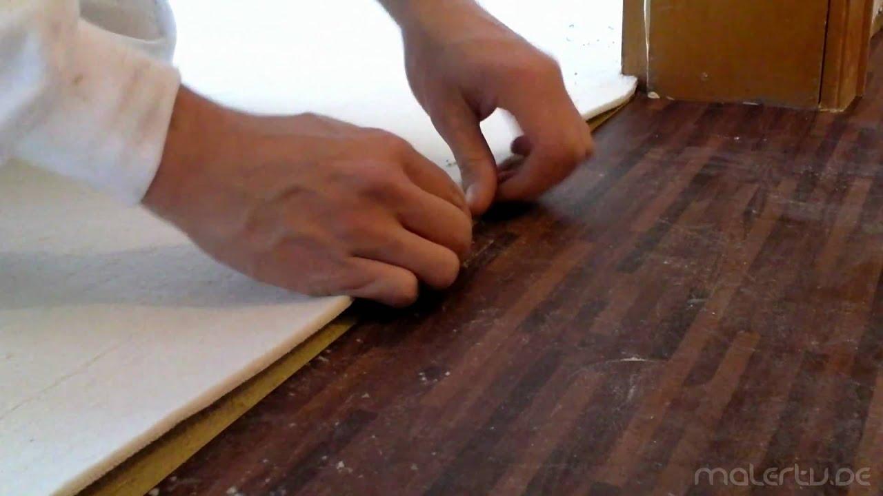 teppich verlegen doppel nahtschnitt an der zimmertr zarge youtube - Laminat Auf Teppichboden Verlegen