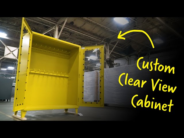 Custom Industrial Cabinet with Clear View Doors and Hanger Rods | Strong Hold