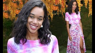 Laura Harrier glows in purple at Veuve Cliquot Polo Classic