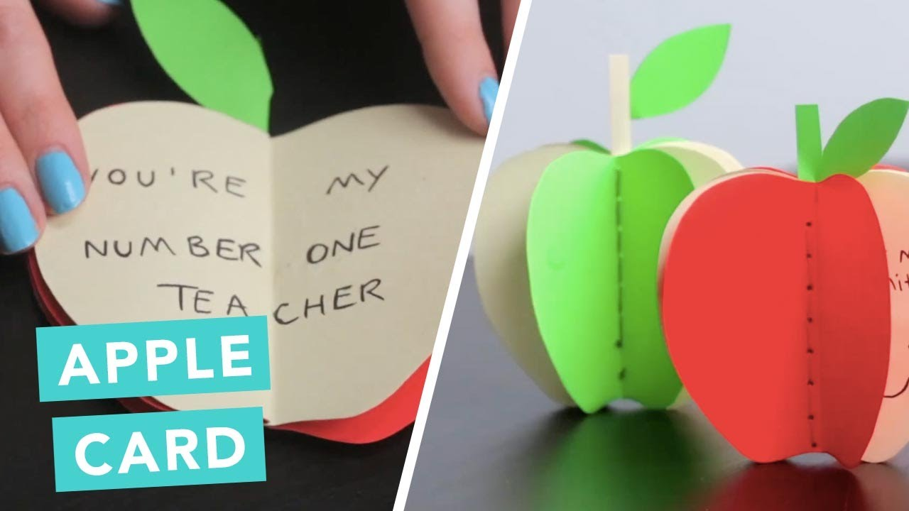 Diy apple card to say thank you for teachers diy pop up for Thank you crafts for teachers