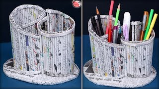 Best Out of Waste Idea || How to Make Pen Stand at Home || News Paper Craft