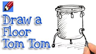 Learn how to draw a floor tom Real Easy for kids and beginners