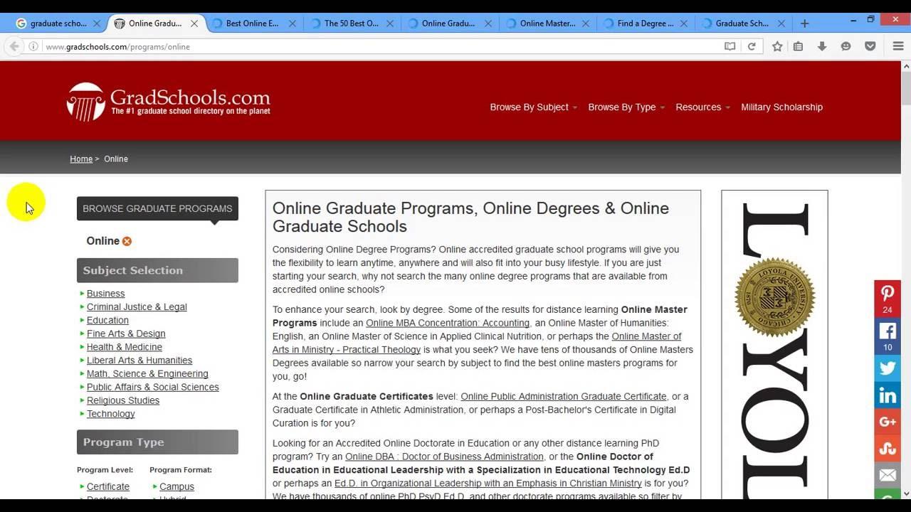 graduate schools online degree programs part  graduate schools online degree programs part 01