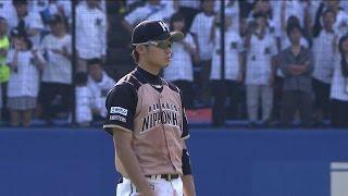 【プロ野球パ】さすが中島、な好反応!ライナーをダイレクトキャッチ  2015/10/04 M-F