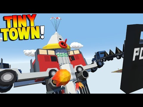 Tiny Town - GIANT MECH ARRIVES! - Tiny Town VR Gameplay - BUILDING TOY ROBOTS AND MECHS! - HTC VIVE