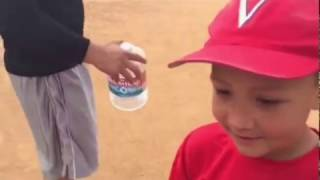 Six year old turning a game ending double play, Little League Baseball.
