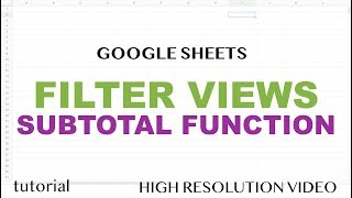 Google Sheets - Filter Views & SUBTOTAL Function Tutorial
