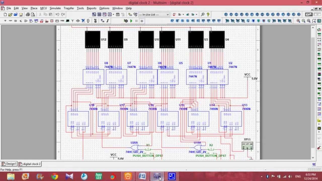 hight resolution of digital clock by using multisim