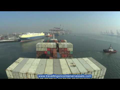 Container vessel leaving the port of Tianjin, China