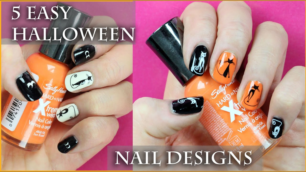 5 Easy Halloween Nail Art Designs for beginners. - YouTube