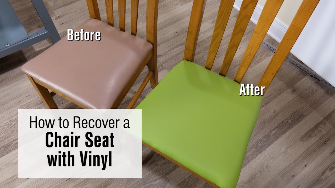 How To Re Cover A Chair Seat With Faux Leather Vinyl Fabric Youtube