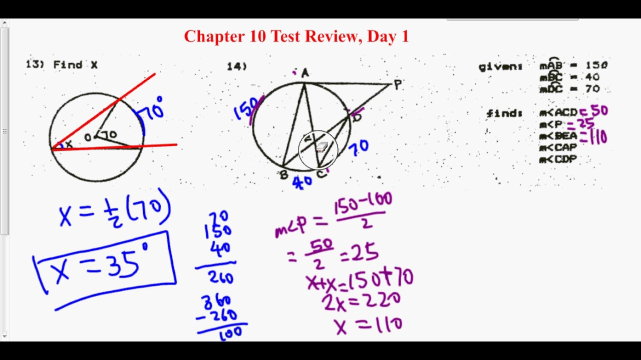 Geometry, Unit 10 Test Review Day 1, #14 - YouTube