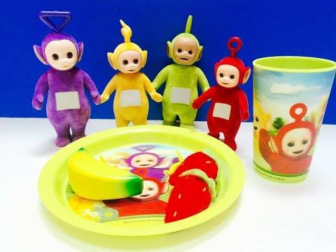 TELETUBBIES Toys Eat Food On Plate Set!!
