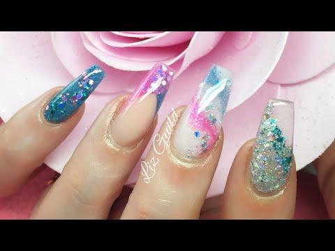 Acrylic Nails | Colour Change | Pink / Purple | Blue / Teal