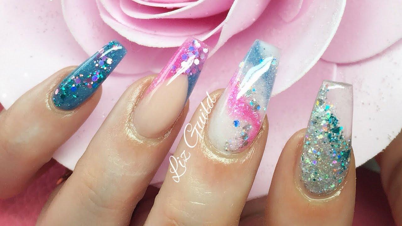 Pink Glitter Reverse Chevron Nails  Purple And Pink Nails