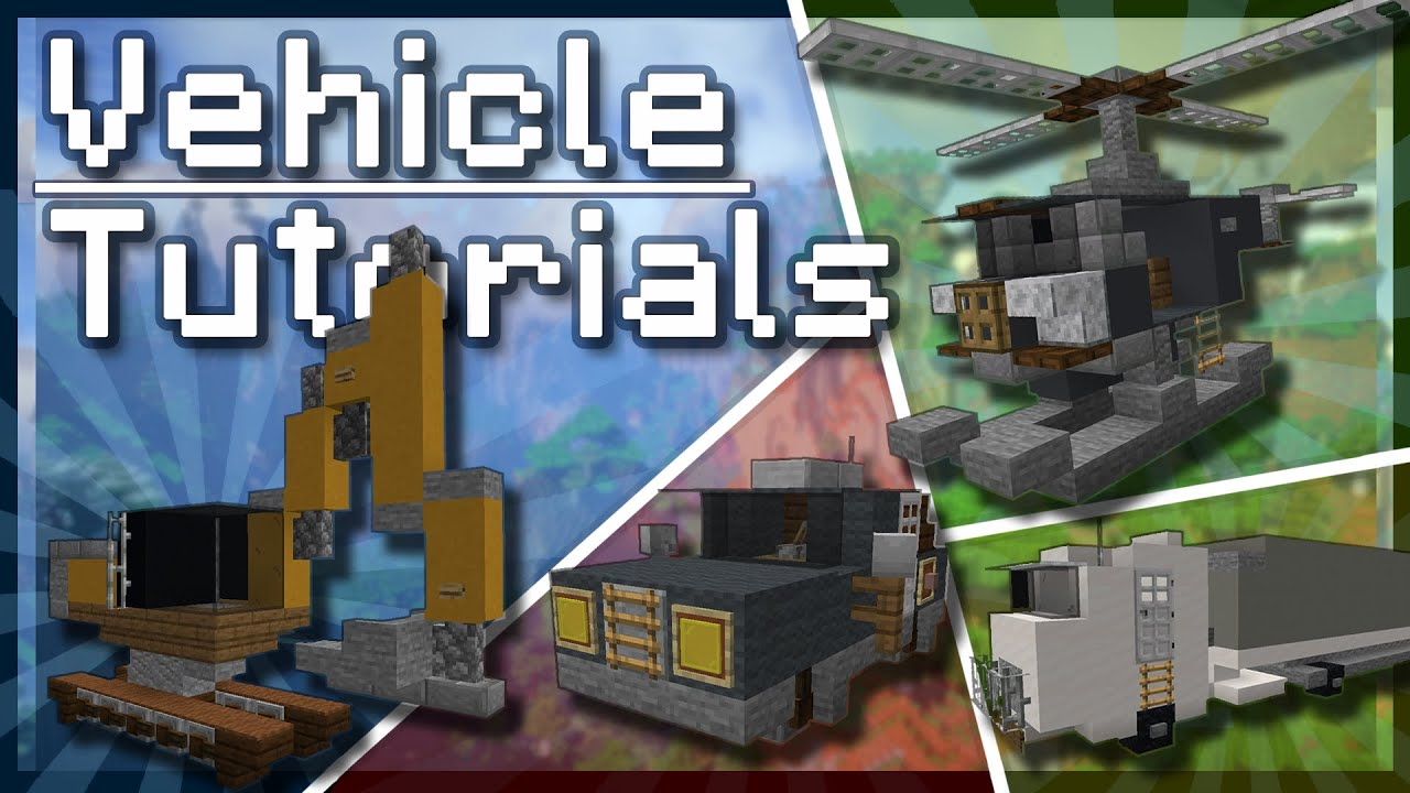 How To Build VEHICLES in Minecraft! (Tutorial) [Helicopter / Digger / Lorry / Car]