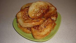 видео Хрустящие гренки из белого хлеба