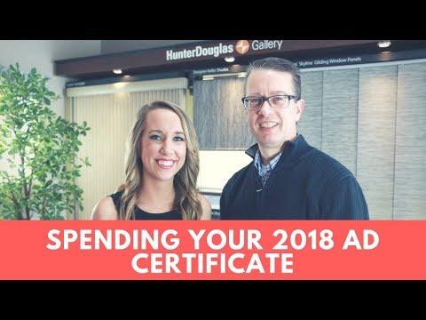 Spending Your Ad Certificate: 2018 Hunter Douglas Dealers