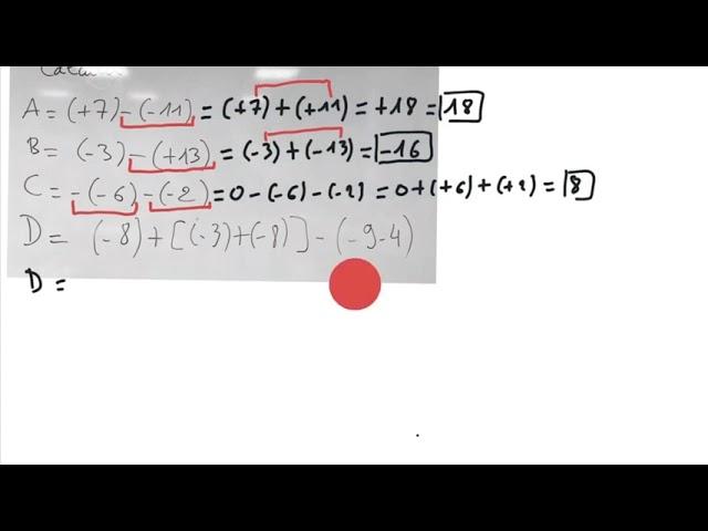 Soustraction de nombres relatifs - Maths 5ème - exercices corrigés.