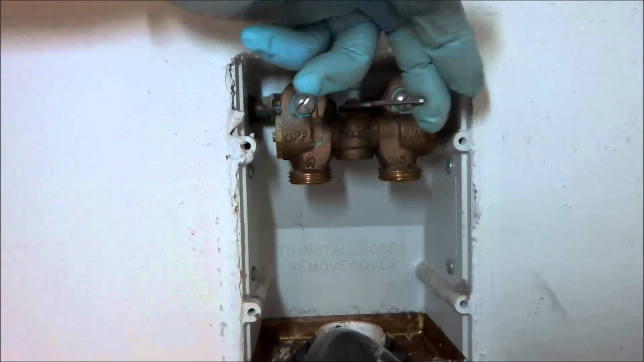 symmons washer machine valve leaking in wall - YouTube