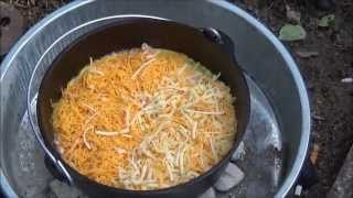 Dutch Oven Cooking (Mountain Man Breakfast w/ Ham)