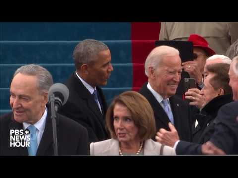 Barack Obama and Joe Biden enter Inauguration Day 2017 ceremony