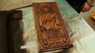 Как сделать Нарды ручным фрезером // (Woodcarving // making backgammon)