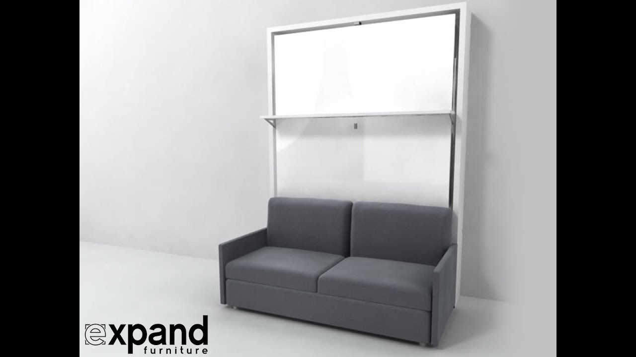 Italian Wall Bed Over Sofa with Floating Shelf | Expand ...