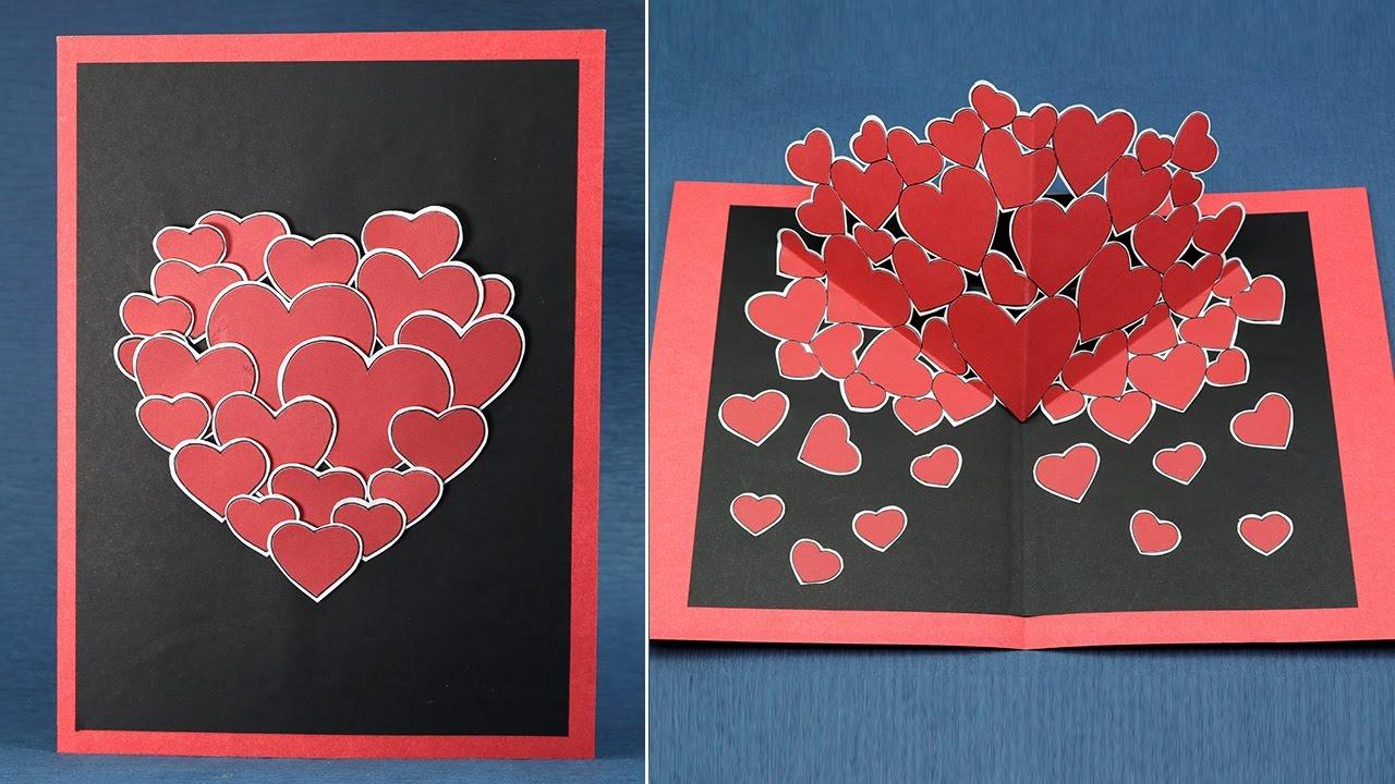 Diy valentine pop up card how to make pop up hearts card for What to put on a valentines card