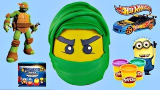 lego ninjago giant play doh egg surprise   superhero mashems tmnt hot wheels x men cars