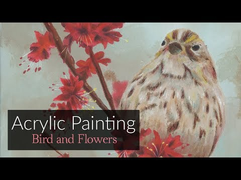 "BIRD AND FLOWERS Acrylic Painting | ""Little Sparrow"" by Rachel Delgado"