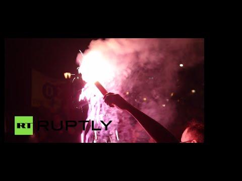 Greeks set EU flag on fire as 61% vote 'OXI' in Greferendum