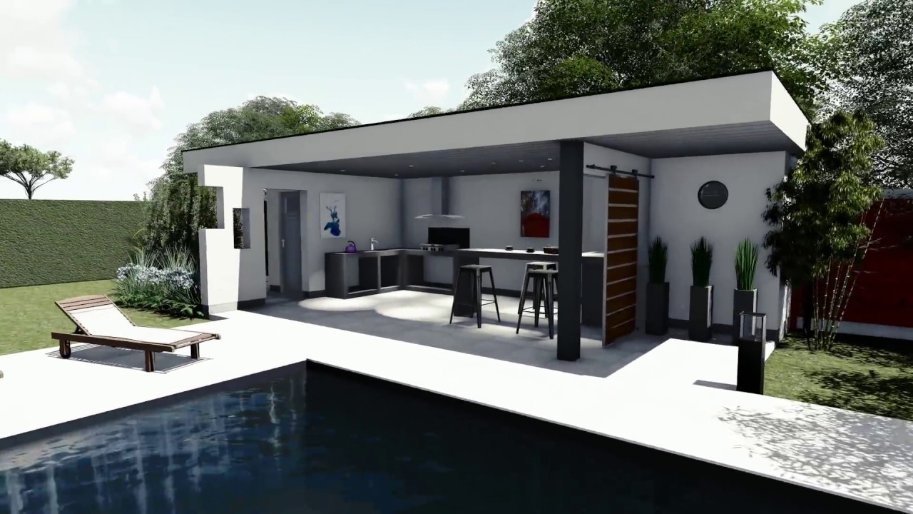 Plan de jardin 3d piscine pool house youtube for Porte pour local technique piscine